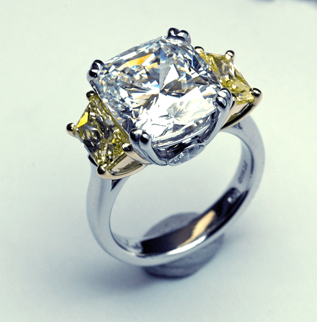 three stone white and yellow diamond ring yellow diamond wedding rings Click here for purchase or inquiry
