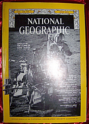 National Geographic July 1971. Apollo 14 moon landing. (Magazines.) at Art, Artifacts, Antiques ...