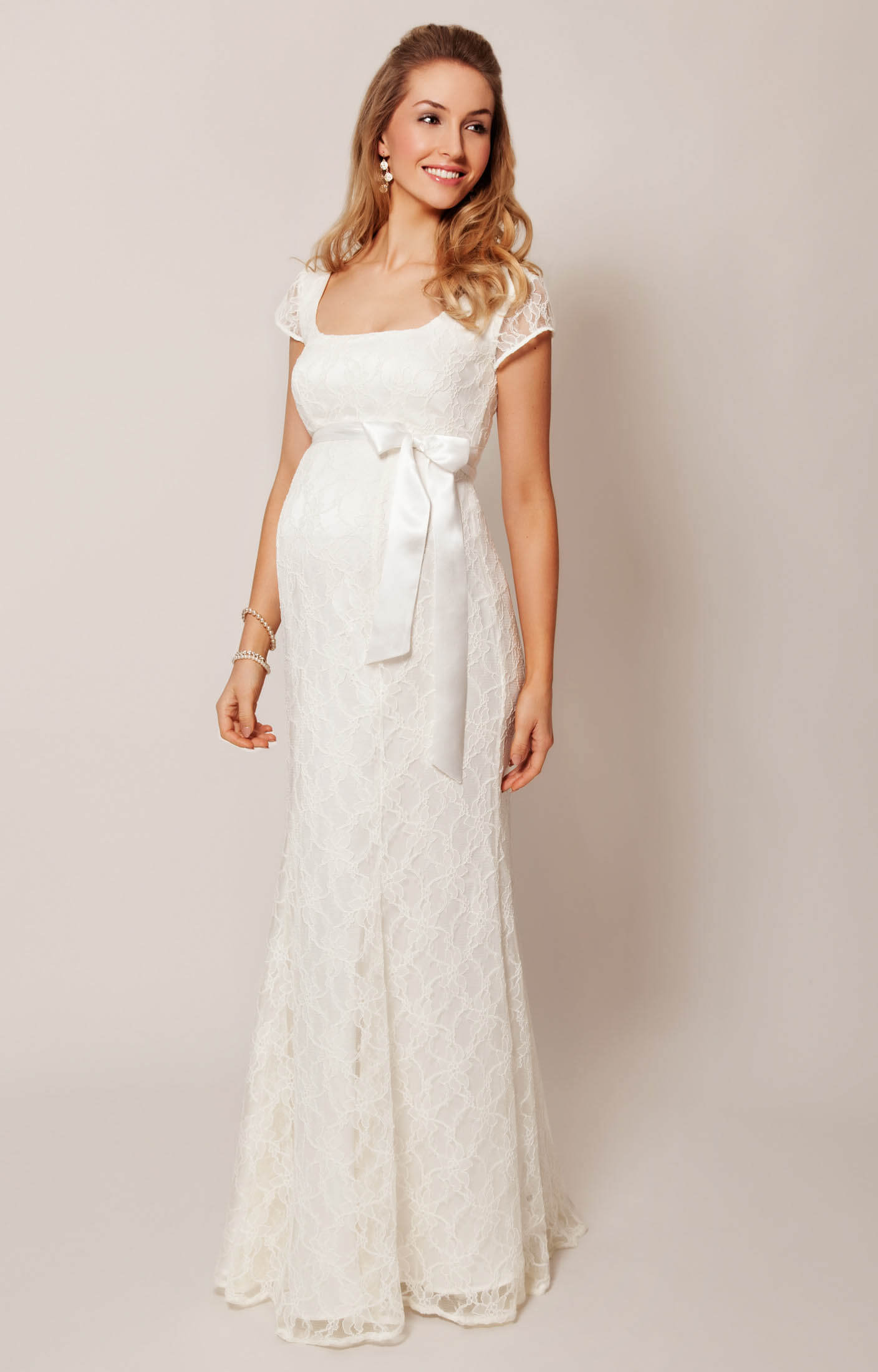 Eva Lace Maternity Wedding Gown (Cream) maternity dress for wedding Eva Lace Maternity Wedding Gown Cream by Tiffany Rose