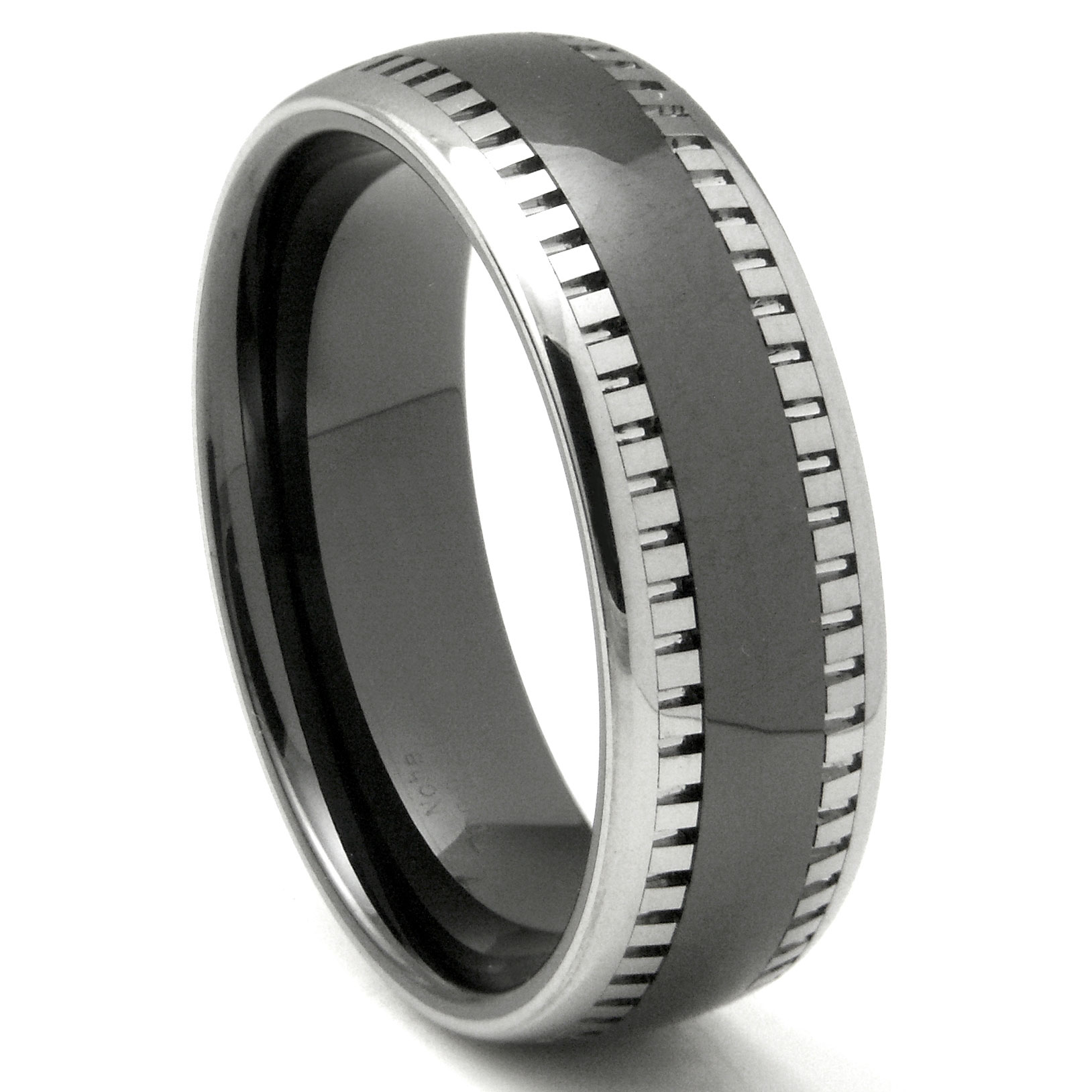 2nd Generation Tungsten Carbide Two Tone Milgrain Dome Wedding Band Ring P tungsten carbide wedding bands Home Men s Tungsten Carbide Rings Loading zoom