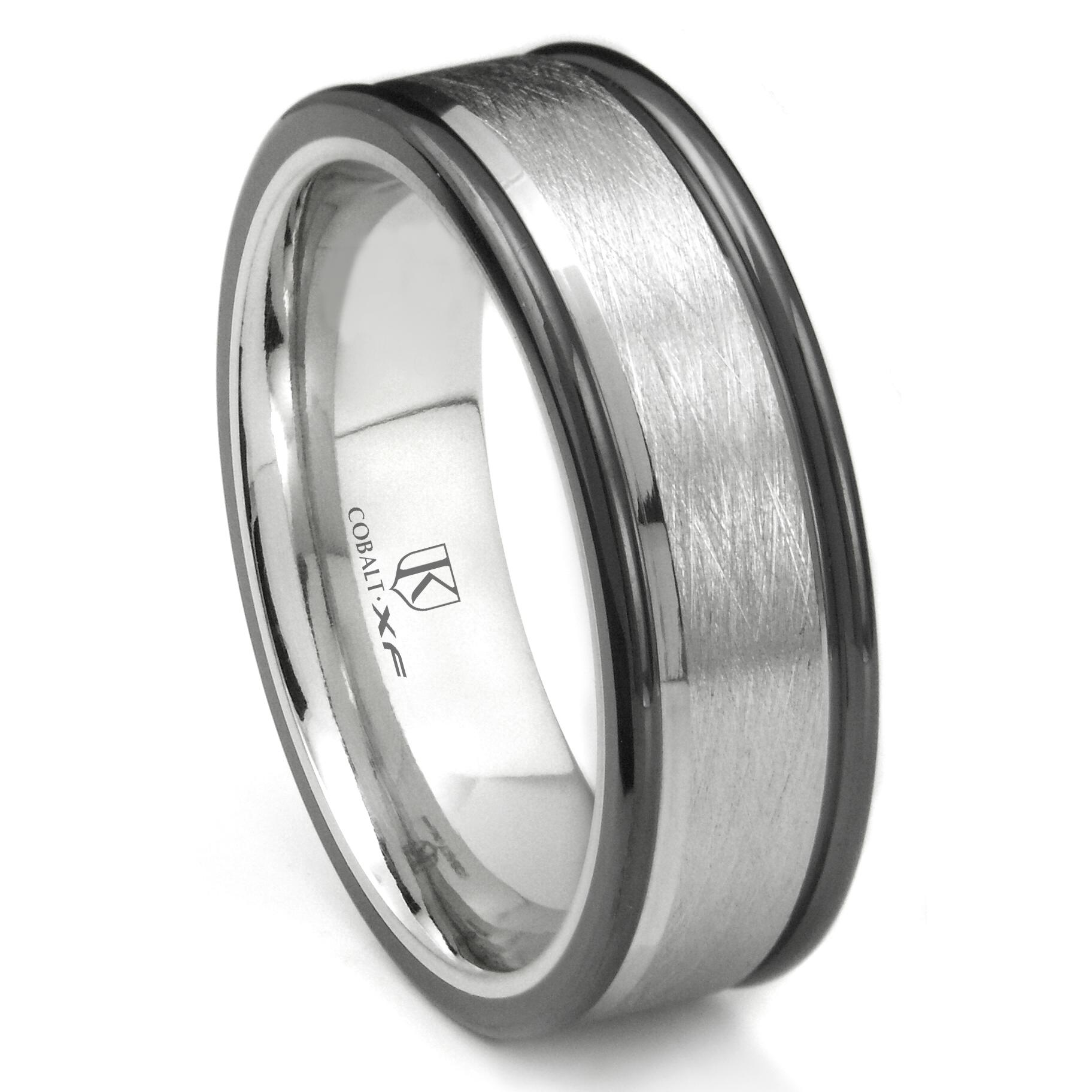 Cobalt XF Chrome 8MM Italian Di Seta Finish Two Tone Wedding Band Ring P cobalt wedding band Home Cobalt Rings Loading zoom