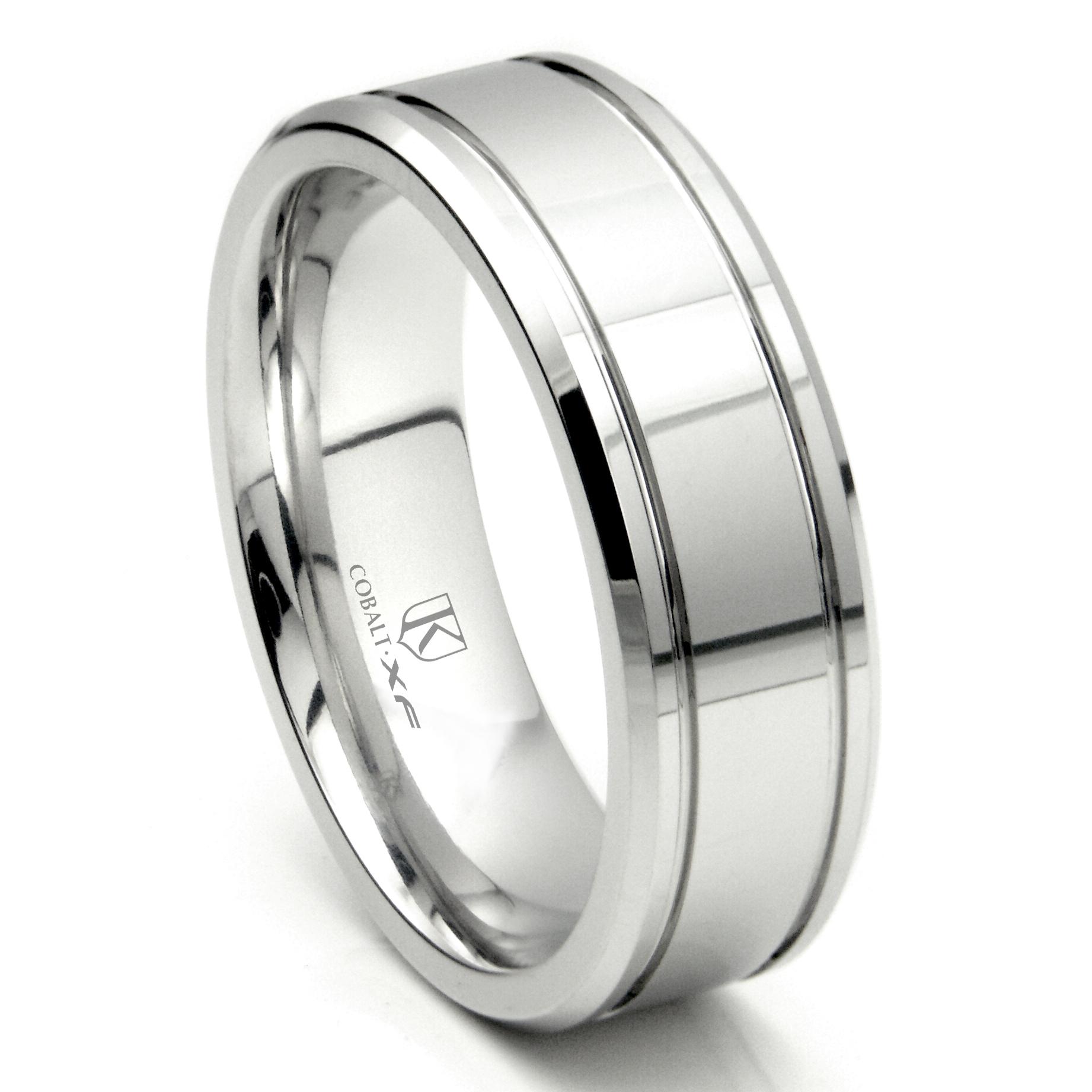 Cobalt XF Chrome 8MM Double Groove High Polish Wedding Band Ring P cobalt wedding bands Home Cobalt Rings Loading zoom