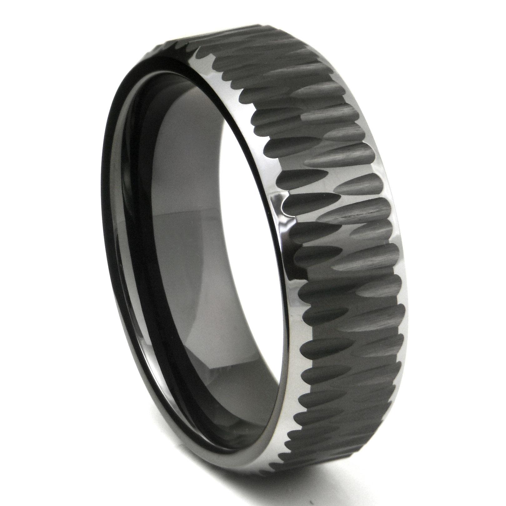 Black Tungsten Carbide Hammer Finish Beveled Wedding Band Ring P black wedding ring Loading zoom