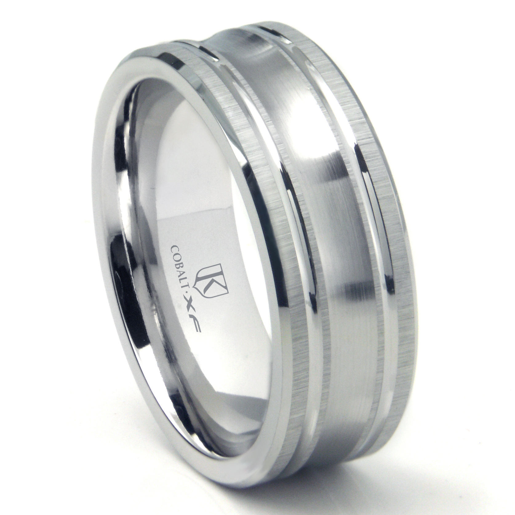 Cobalt XF Chrome 9MM Concave Wedding Band Ring w Coinedge Satin Finish P cobalt wedding bands Home Cobalt Rings Loading zoom