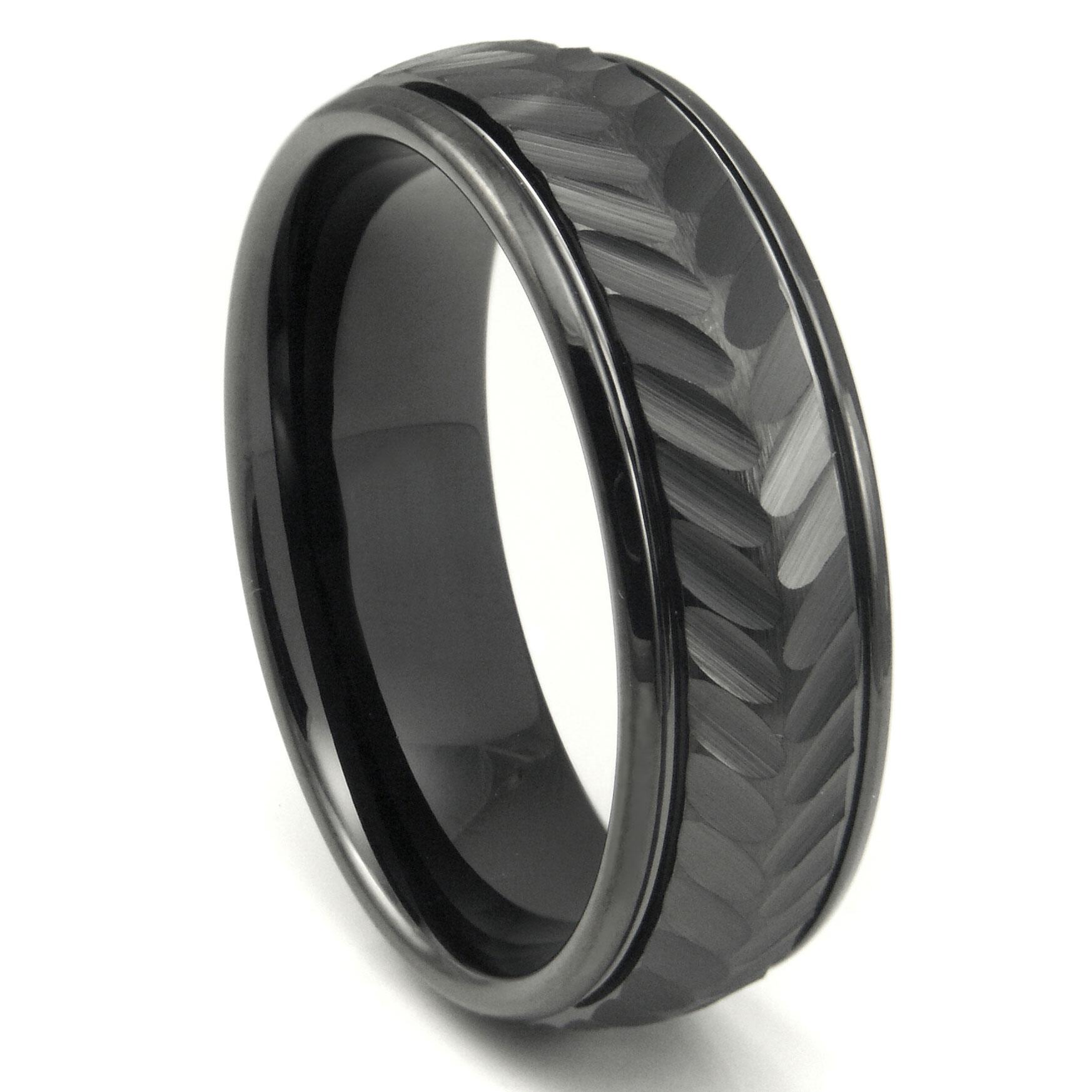 Black Tungsten Carbide 8MM Chevron Newport Wedding Band Ring P tungsten wedding band Home Men s Tungsten Carbide Rings Loading zoom