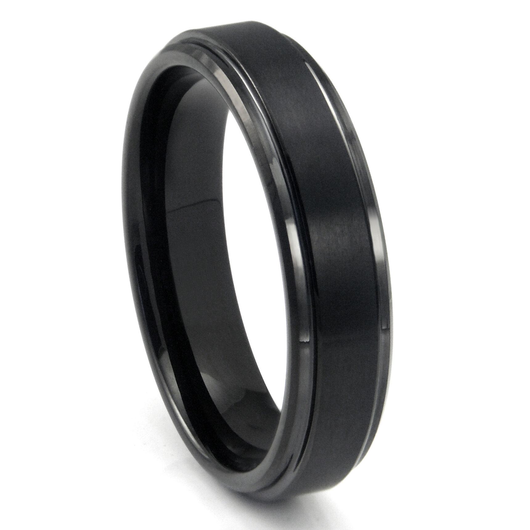 Mens Tungsten Carbide Rings 1 tungsten hammered wedding band Black Tungsten Carbide Wedding Band Ring w Raised Center