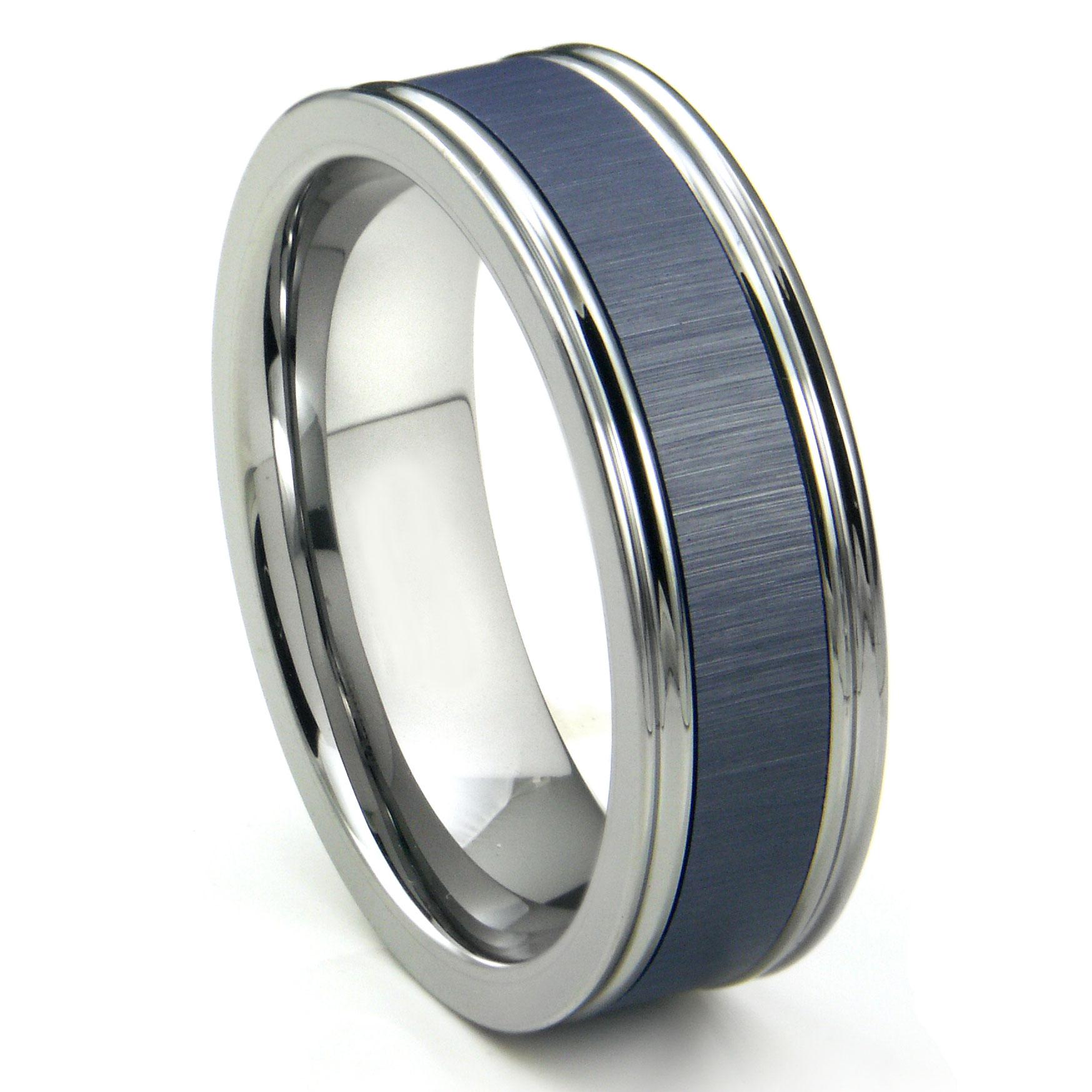 Mens Tungsten Carbide Rings tungsten hammered wedding band Tungsten Carbide Blue Ceramic Inlay Wedding Band Ring w Horizontal Satin Finish