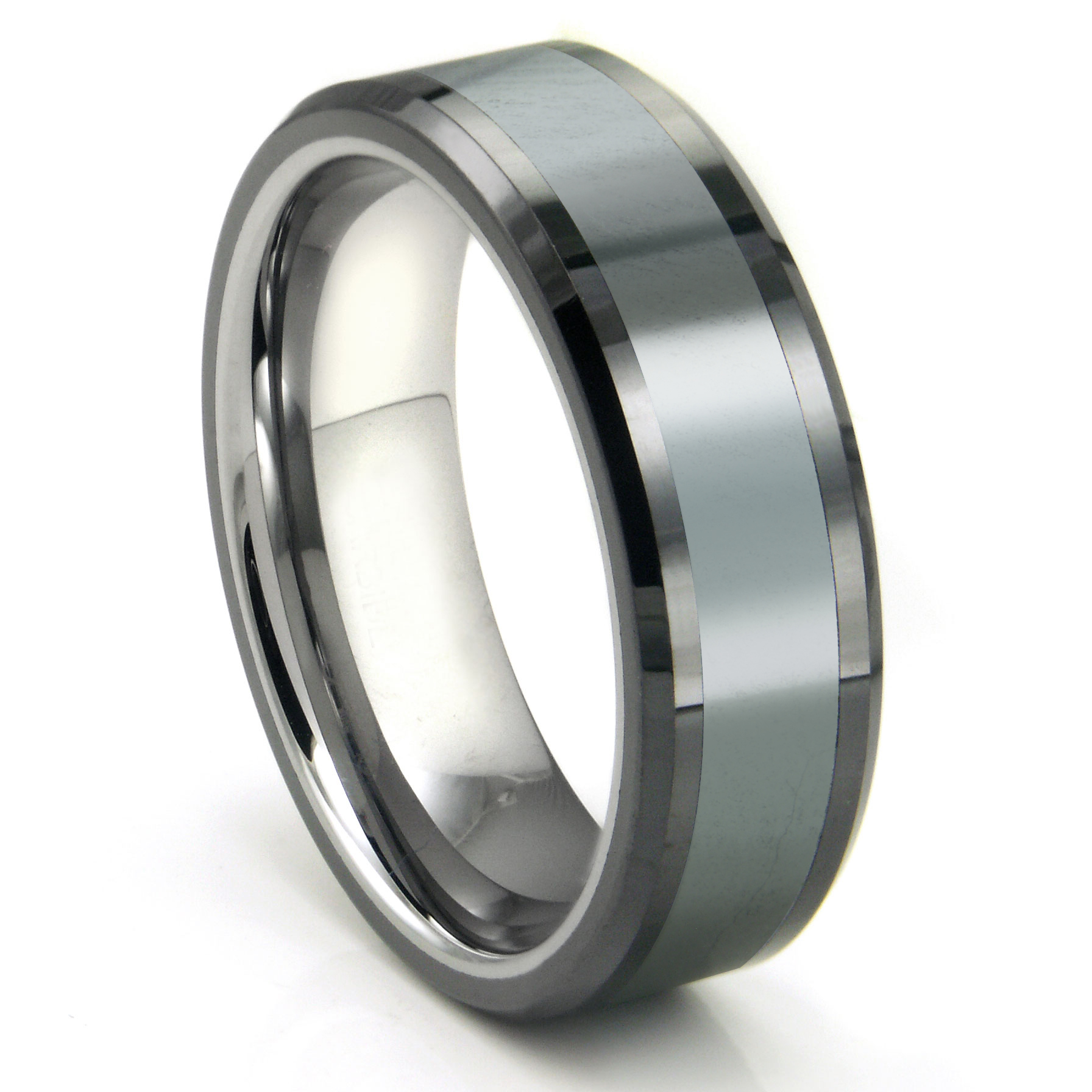 Mens Tungsten Carbide Rings male wedding bands Tungsten Carbide Grey Meteorite Inlay Wedding Band Ring