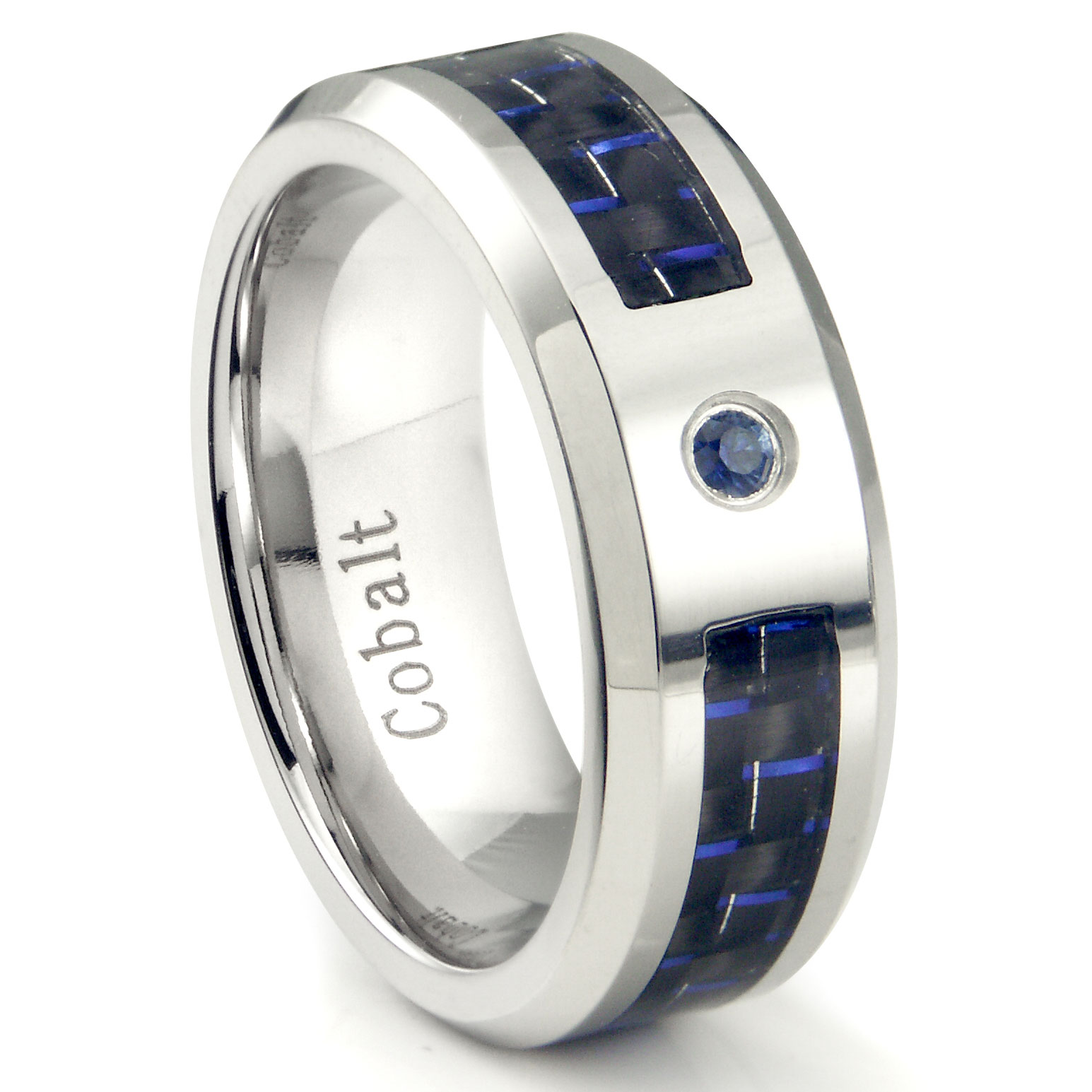 Cobalt Chrome 8MM Blue Sapphire Blue Carbon Fiber Inlay Wedding Band Ring P cobalt wedding rings Home Cobalt Rings Loading zoom