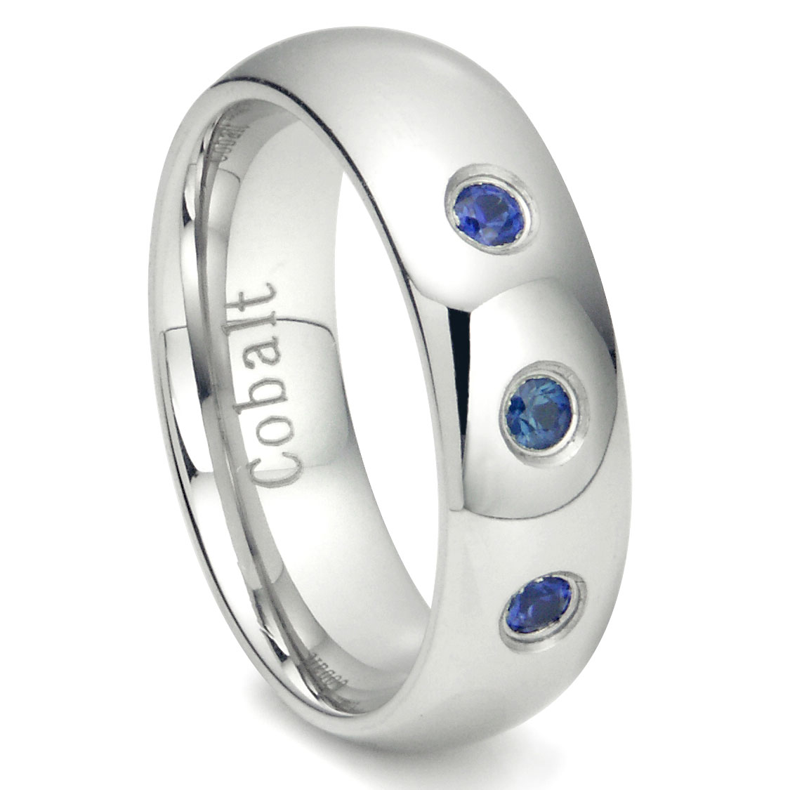 Cobalt Chrome 7MM 3 Blue Sapphire Domed Wedding Band Ring P cobalt wedding bands Home Cobalt Rings Loading zoom