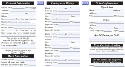Port of Subs Job Application - Printable Employment PDF Forms