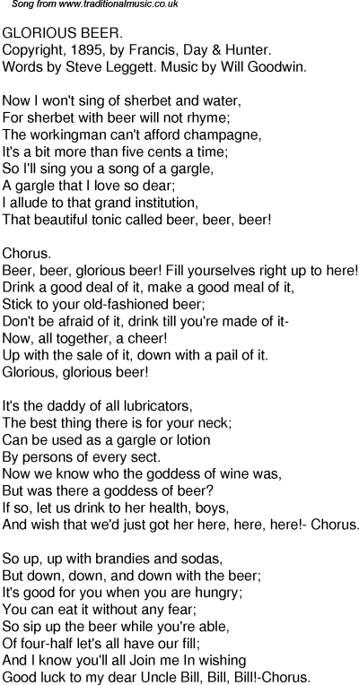 Old Time Song Lyrics for 51 Glorious Beer