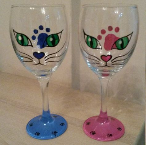 Cat Decorated Wine Glass Painting     TreeTops Kitty Cafe