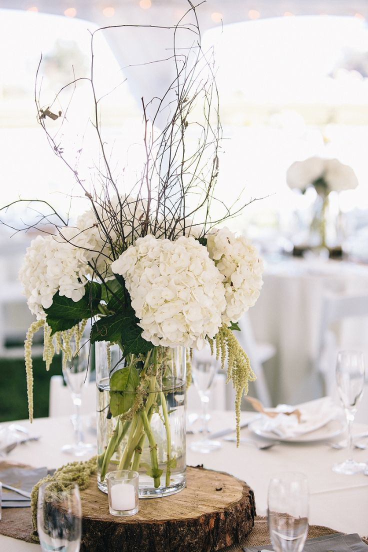 rustic wedding ideas with tree branches wedding centerpiece Rstic White Hydrangea and Tree Stump Wedding Centerpiece