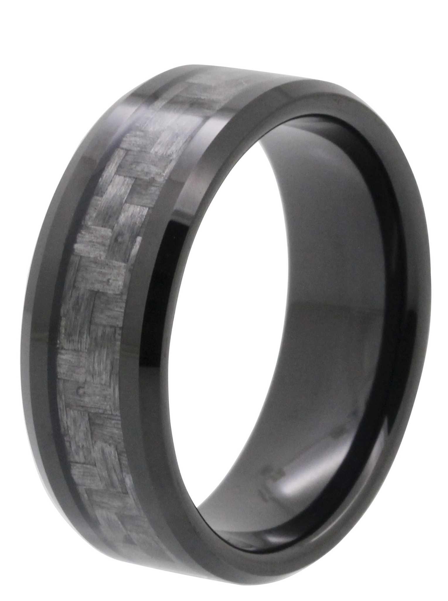 inlay tungsten rings tungsten wedding band 8MM Carbon Fiber Inlay Tayloright Tungsten Wedding Band