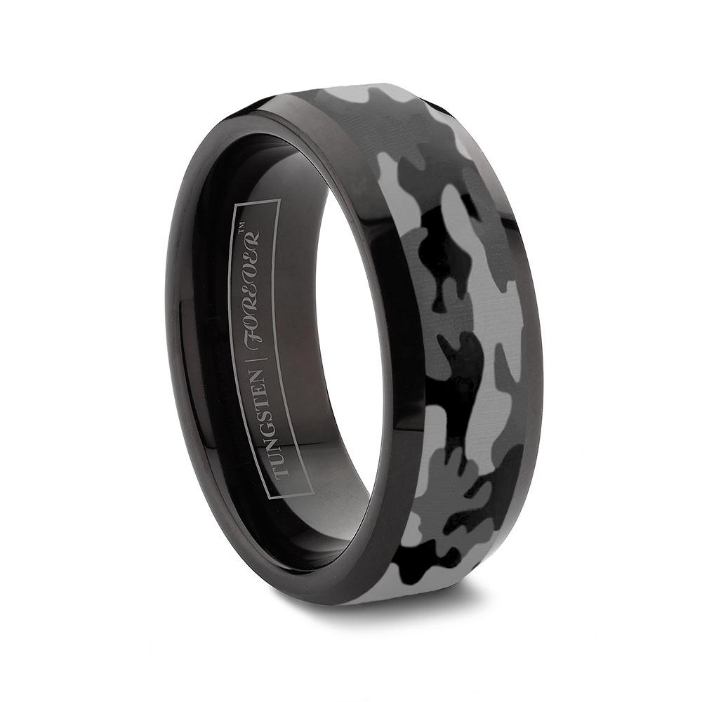 custom tungsten rings black mens wedding rings Ceramic and Tungsten Diamond Ring Camo Tungsten Ring