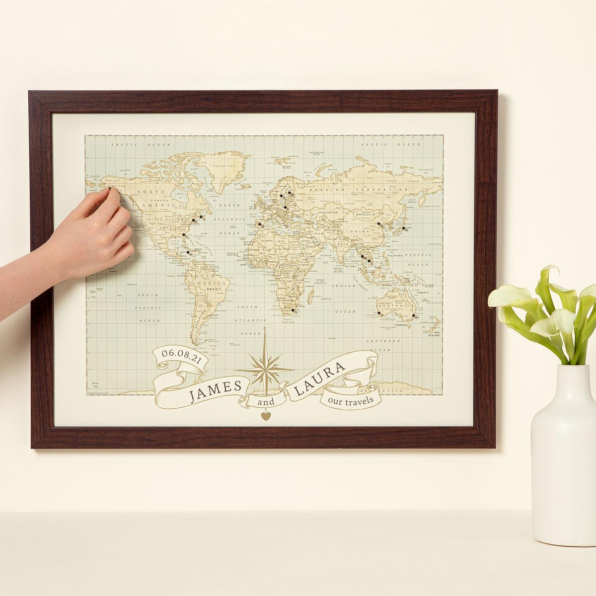 personalized wedding wedding gift Customizable Personalized Anniversary Pushpin World Map