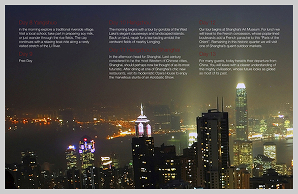 15 City Travel Brochure Examples for Design Inspiration   UPrinting Travel Brochure Examples   China