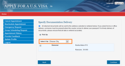 Apply for a U.S. Visa | Change Document Delivery Address - Australia (English)