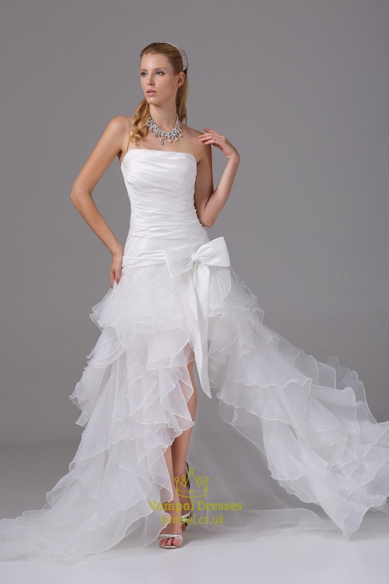 wedding dresses with slits up the leg ruffle wedding dress Organza Ruffle Wedding Dress Wedding Dresses With Slits Up The Leg
