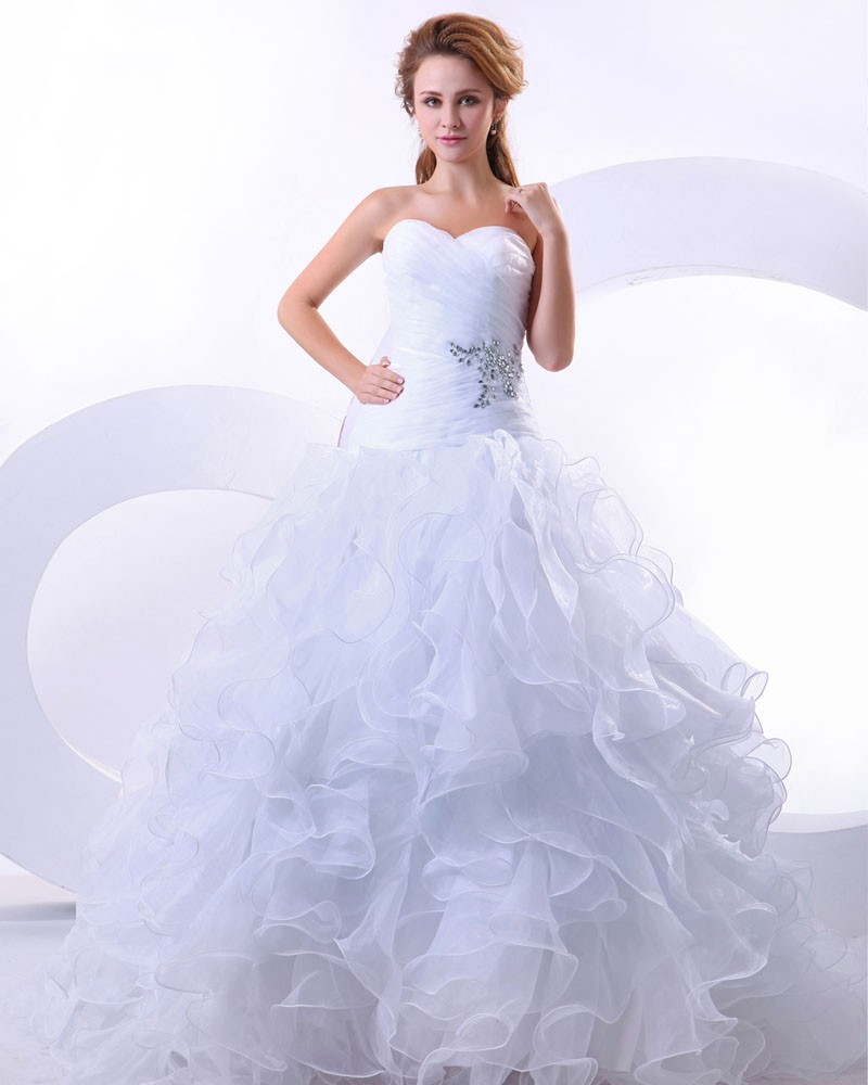 budget ball gown wedding dress ruffle wedding dress Picture Wtoo Bridals style