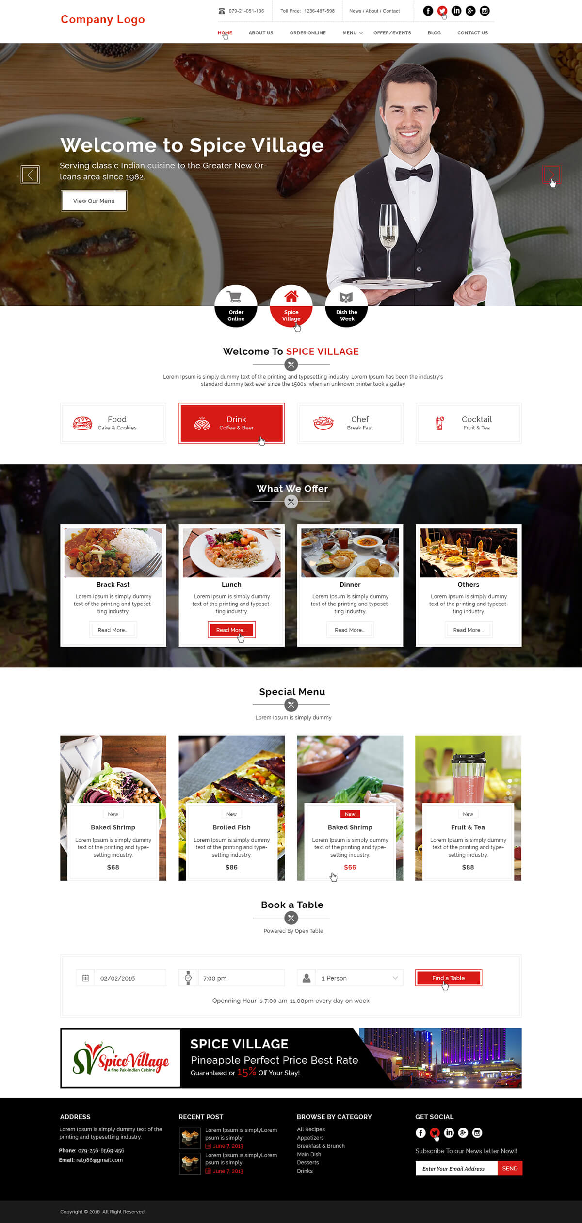 Food and Restaurant Website Template