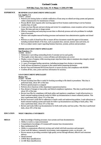 Loan Document Specialist Resume Samples | Velvet Jobs