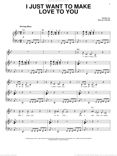 James - I Just Want To Make Love To You sheet music for voice and piano