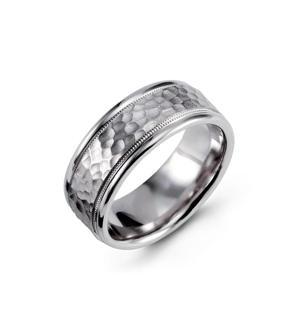 14k white gold milgrain wedding band hammered ring hammered wedding band Drawing