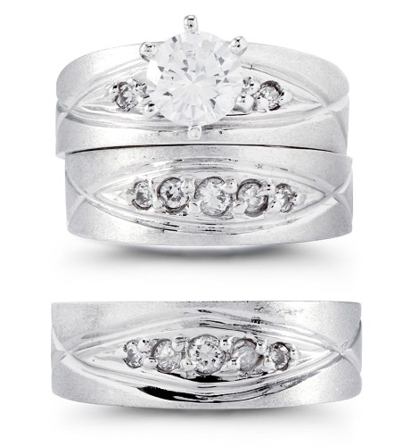 14k solid white gold wide band cz stone wedding trio wide wedding bands Stand out with the help of your wedding ring