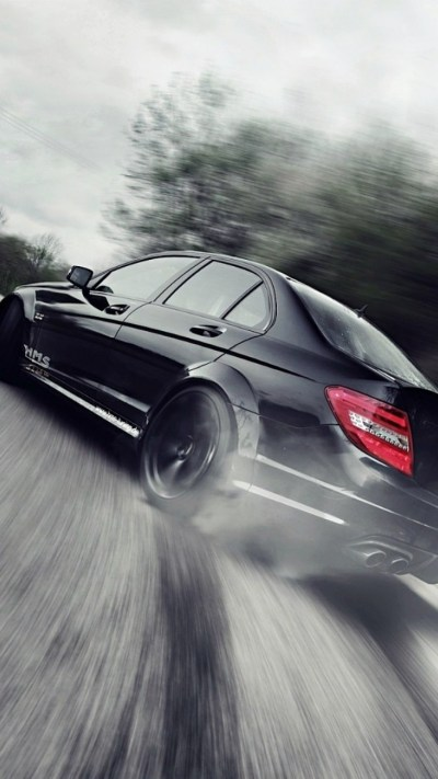 Download 1080x1920 Mercedes Benz C Class C63, Black, Drift, Cars Wallpapers for iPhone 8, iPhone ...