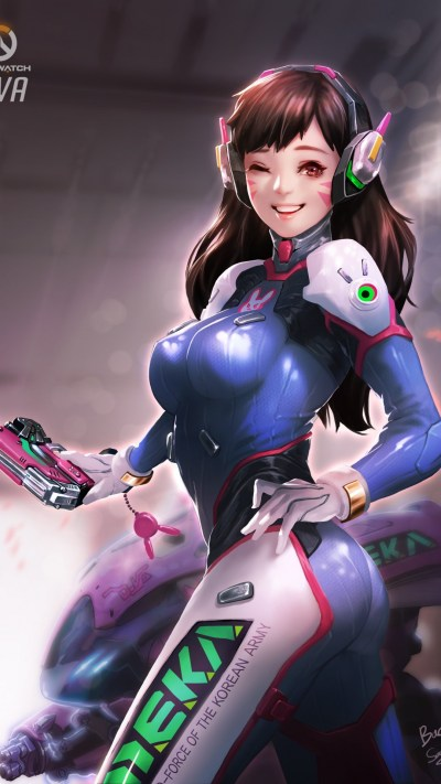 Download 1080x1920 Overwatch, D.va, Smile, Bodysuit, Headphones Wallpapers for iPhone 8, iPhone ...