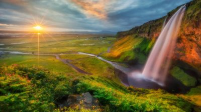 Photo Wallpaper Hd Waterfall River Valley Sunset : Wallpapers13.com