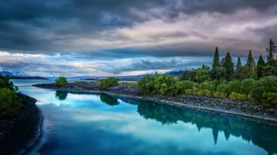 Evening On The Blue Lake Tekapo Desktop Wallpaper Hd Widescreen Free Download : Wallpapers13.com