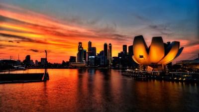 Download Wallpaper 1920x1080 singapore, sky, sunset, light Full HD 1080p HD Background
