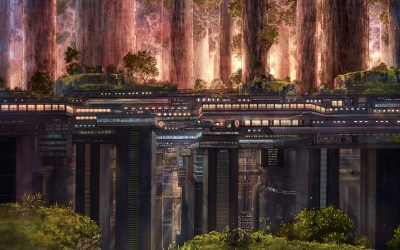 Nature cityscapes futuristic forest artwork contrast opposite wallpaper | 1920x1200 | 9405 ...