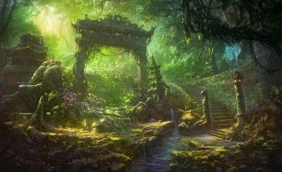Fantasy art temple trees forest jungle landscapes decay ruins wallpaper | 1920x1180 | 34271 ...