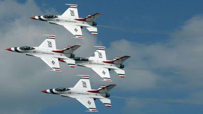 Airplanes F-16 Fighting Falcon jet aircraft widescreen USAF Thunderbirds Thunderbirds wallpaper ...
