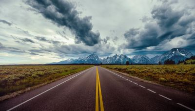 Road field horizon mountains clouds sky wallpaper | 7843x4462 | 918988 | WallpaperUP