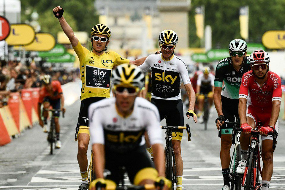 Tour de France 2018 highlights and recap   The Washington Post Geraint Thomas  in yellow  and Sky teammate Chris Froome cross the finish  line   Philippe Lopez   AFP   Getty Images