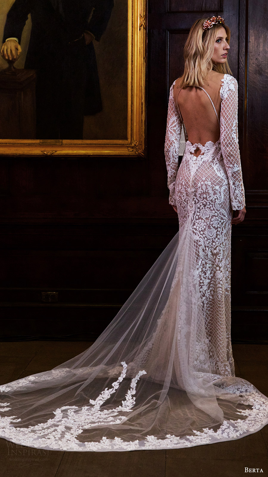 berta wedding dresses bridal fashion week fall berta wedding dresses Berta sheer wedding gown with beading and floral details for Fall