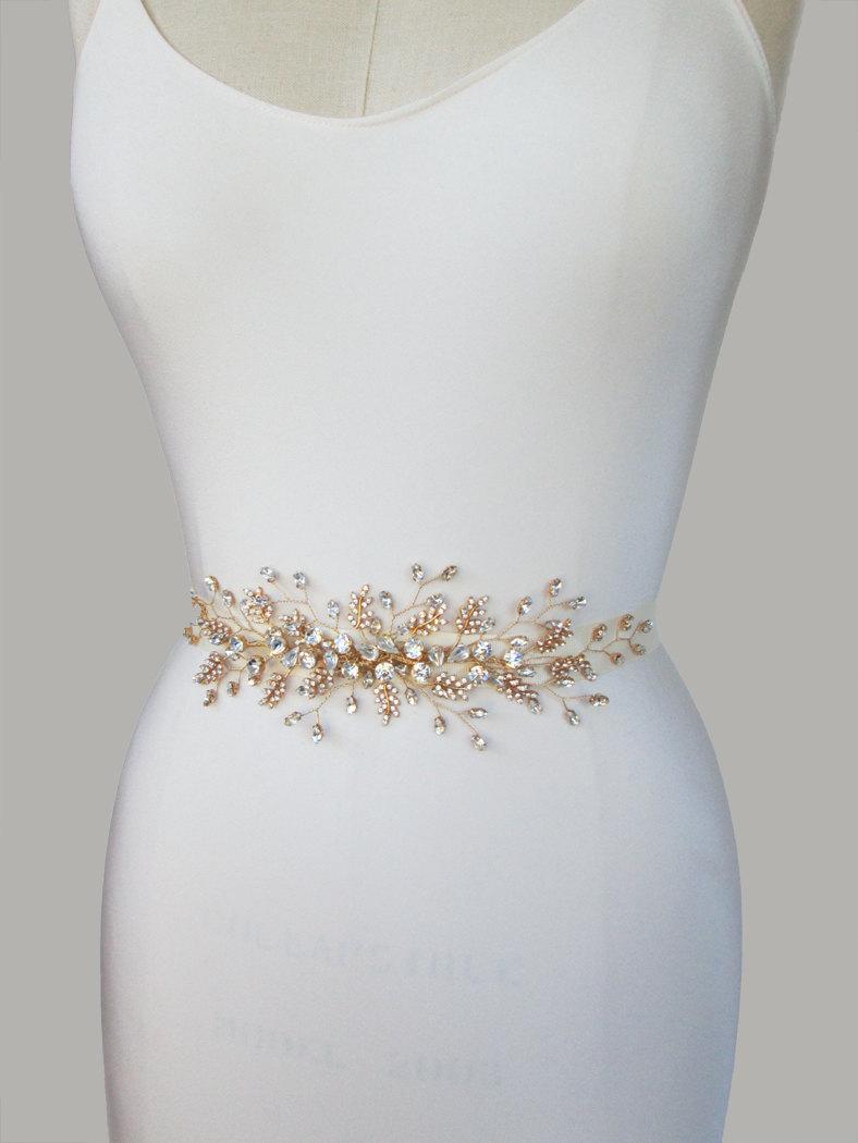 unusual wedding dress belts bridal sashes wedding belts for dresses Vintage Style Gold Crystal Illusion Sash gold crystal vintage wedding Dress belt