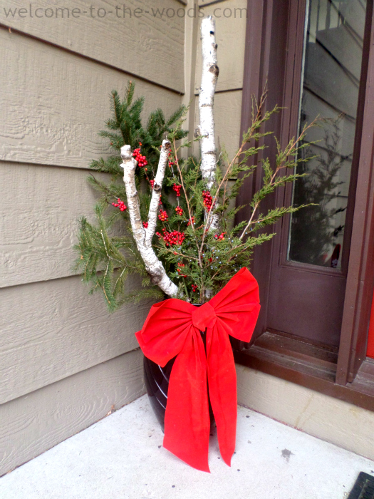 Birch Tree Christmas DIY Decor   Welcome to the Woods Make a stunning everygreen display for your front porch or step by  combining real birch branches