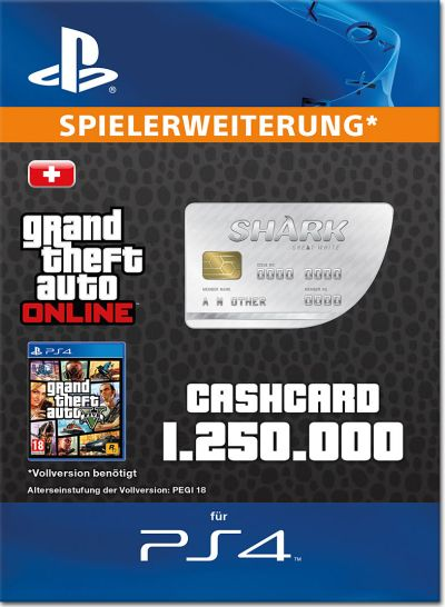Grand Theft Auto 5: Great White Shark 1'250'000 Cash Card [Playstation 4-Digital] • World of Games
