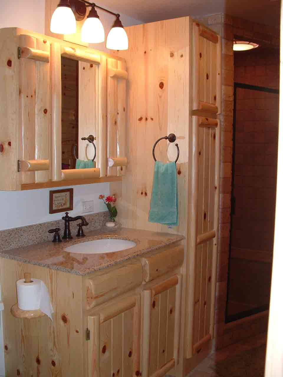 cabinetry pine cabinets kitchen 05Log Panel Vanity1