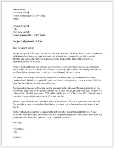 Bank Loan Approval Letter Template | Word & Excel Templates