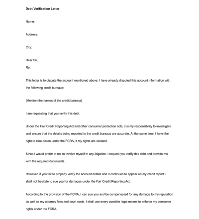 Sample Debt Validation/Verification Letters (for Debt Collectors)