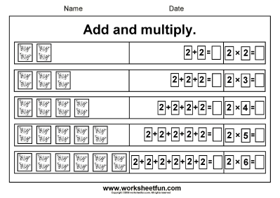 Beginner Multiplication- 2,5,6,7,8 & 9 – Add and Multiply- Repeated Addition – Six Worksheets ...