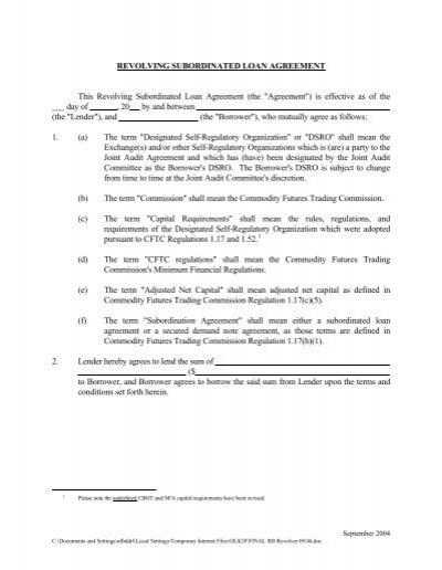 Sample Revolving Subordinated Loan Agreement