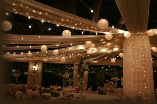 Real Weddings And Wedding Inspiration Ideas Elegant Ceiling Drape With Lights 100 Layer Cake
